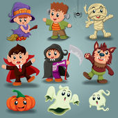 Vintage Halloween poster design with kids in costume — ストックベクタ