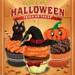 Vintage Halloween poster design with cupcakes — Stock Vector #55962853