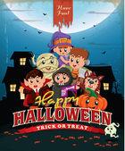 Vintage Halloween poster design with kids in costume — Stock Vector