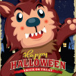 Постер, плакат: Vintage Halloween poster design with kid in wolfman costume