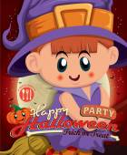 Vintage Halloween poster design with kid in witch costume — Stock Vector
