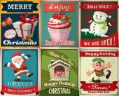 Vintage Christmas poster design set — Wektor stockowy
