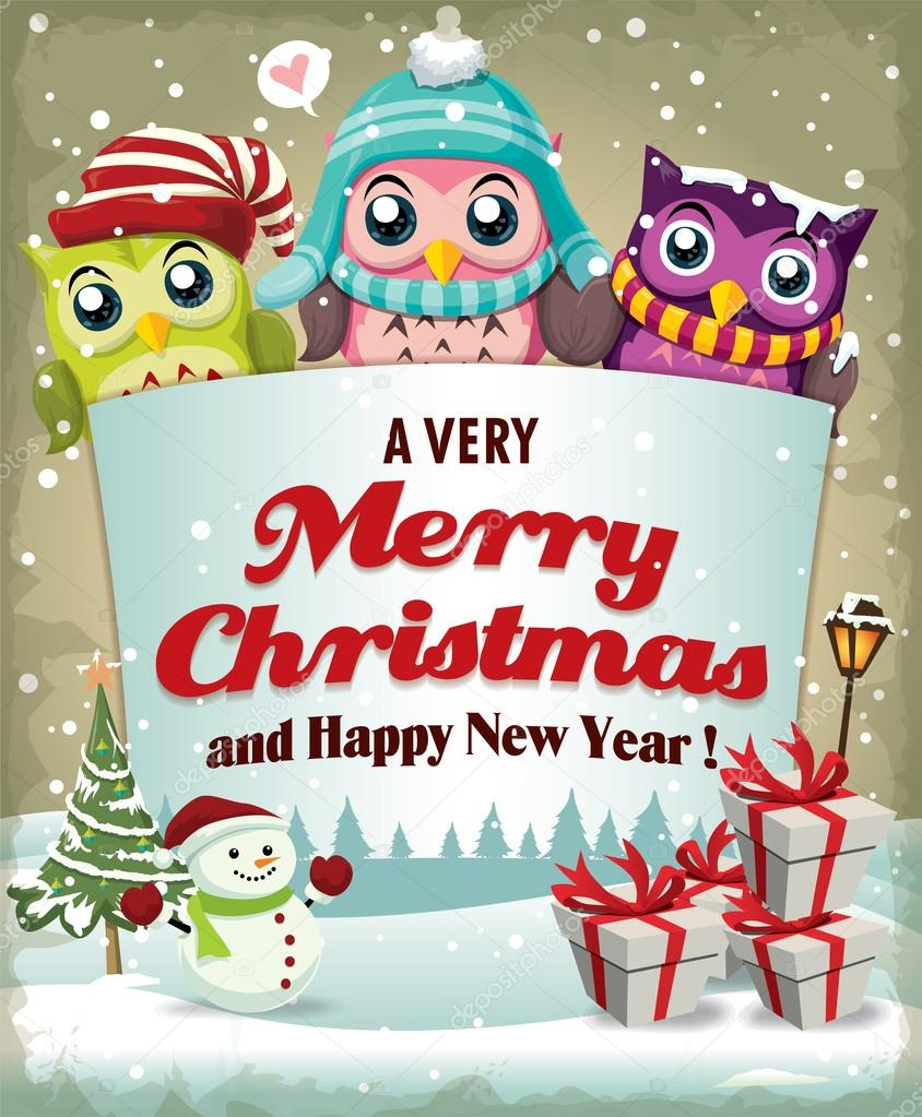 Xmas poster design - Vintage Christmas Poster Design With Owl Stock Vector 58056767