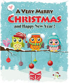 Vintage Christmas poster design with owls — Vector de stock