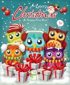 Vintage Christmas poster design with owls — Stock Vector