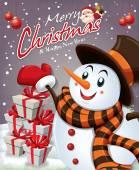 Noel Baba ve kardan adam ile tasarım Vintage Noel poster — Stok Vektör