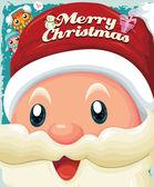老式的圣诞节海报设计与圣诞老人与雪人 — 图库矢量图片