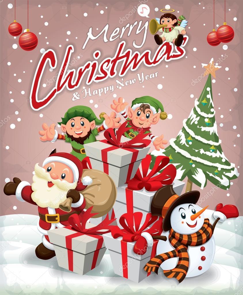 vintage christmas poster design with santa claus snowman