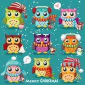 Vintage Christmas poster design with owls, Santa Claus, snowman — Stock Vector