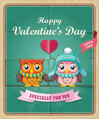 Vintage Valentine poster design with owls — Stock Vector