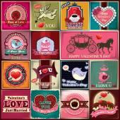 Jogo de desenho de cartaz Vintage Valentine — Vetor de Stock