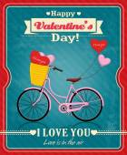 Vintage Valentine poster design with cycle — Stock Vector