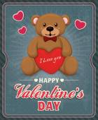 Vintage Valentine poster design with teddy bear — Stock Vector