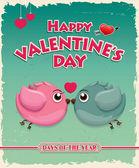鳥とビンテージ バレンタイン ポスター デザイン — ストックベクタ