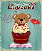 Vintage Valentine cupcake poster design — Stock Vector