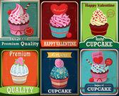 Vintage Valentine cupcake poster design set — Wektor stockowy