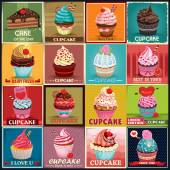 Vintage Cupcake poster design set — Stock Vector