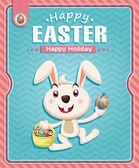 Vintage Easter poster design with bunny and basket — Stockvektor
