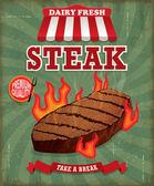 Conception d'affiche Vintage steak — Vecteur