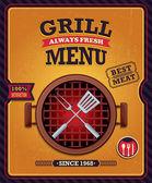 Vintage grill menu poster design — Stock Vector