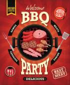 Vintage Bbq part menyn affisch design med korv, kött, nötkött. kyckling, bacon — Stockvektor