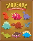 Дизайн плаката символа Винтаж милый динозавр — Cтоковый вектор