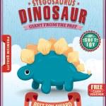 Vintage dinosaur poster design with Stegosaurus — Stock Vector #77641216