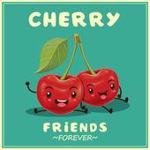 Vintage vector cherry cartoon karakter illustratie — Stockvector
