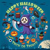 Vintage Halloween poster design set — Stock Vector