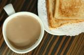 Slice toast bread and hot cocoa — Stock Photo