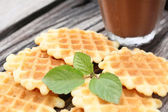 Waffles with hot chocolate — 图库照片
