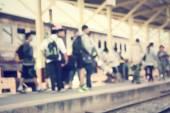 Запятнанный железнодорожной станции — Стоковое фото