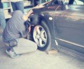 Blurred of wheel repair — Stok fotoğraf