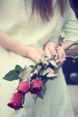 Red roses with hand — Stock Photo