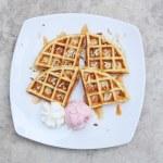 Belgium waffles with ice cream — Stock Photo #64478221