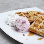 Belgium waffles with ice cream — Stock Photo #64478321