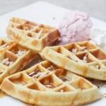 Belgium waffles with ice cream — Stock Photo #64478607