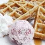 Belgium waffles with ice cream — Stock Photo #64478705