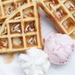 Belgium waffles with ice cream — Stock Photo #64478797