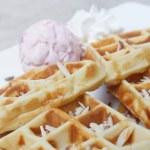 Belgium waffles with ice cream — Stock Photo #64480363