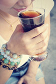 Woman drinking a cola — Stock Photo