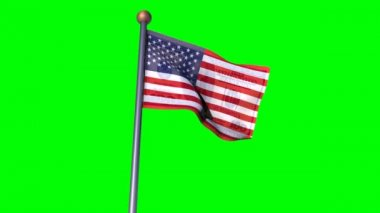 USA flag convert to 100 dollar flag in greenscreen background — Stock Video