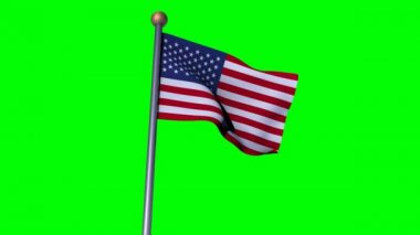 USA flag in greenscreen background — Stock Video