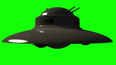 Military UFO with guns - Unidentified flying object on greenscreen — Stock Video