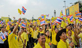 Thai people wave flags during King's birthday in Bangkok, Thailand. — Stockfoto