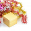 Christmas decoration with gift box and fir branch — Stock Photo #58487269