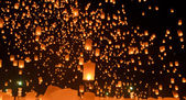 Sky lanterns festival or Yi Peng festival in Chiang Mai, Thailand — Stock Photo