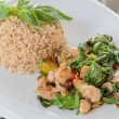 Fried chicken with sweet basil leave with rice — Stock Photo #61928591