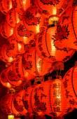 Chinese red lantern illuminated at night — Stock Photo