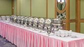 Buffet heated trays ready for service — Stock Photo